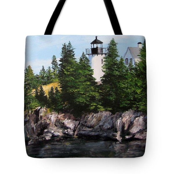 Bear Island Lighthouse Tote Bag by Jack Skinner