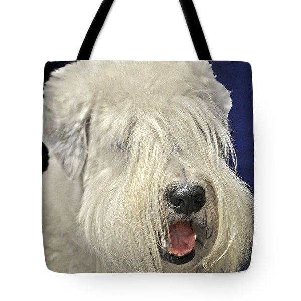Bearded Collie - The 'bouncing Beardie' Tote Bag by Christine Till