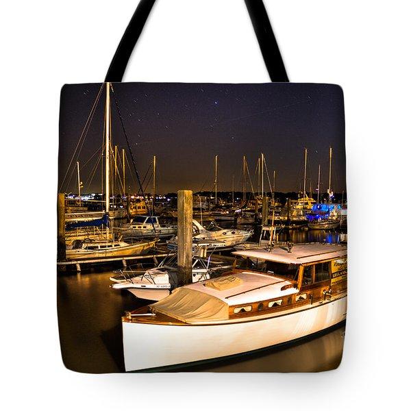 Beaufort SC Night Harbor Tote Bag by Reid Callaway