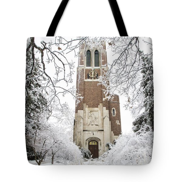 Beaumont Tower Ice Storm  Tote Bag by John McGraw