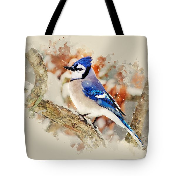 Beautiful Blue Jay - Watercolor Art Tote Bag by Christina Rollo