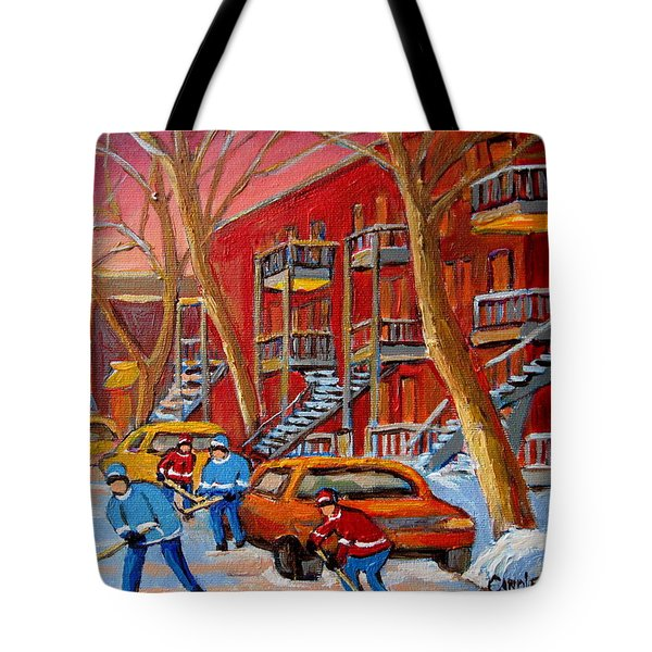 Beautiful Day For Hockey Tote Bag by Carole Spandau