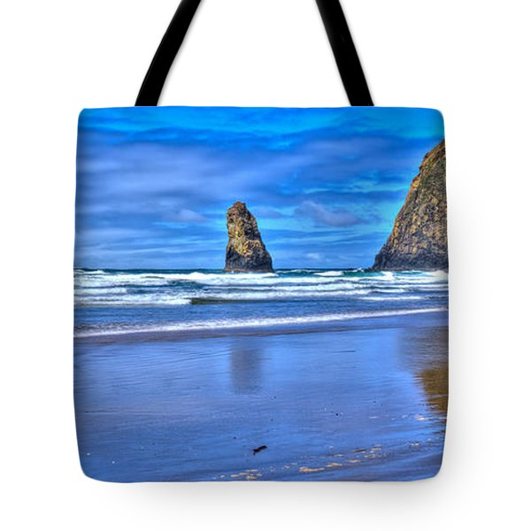 Beautiful Haystack Rock and the Needles Tote Bag by David Patterson