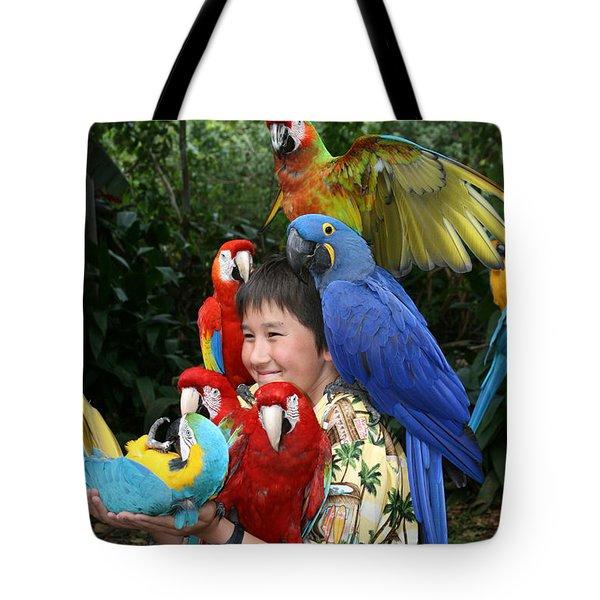 Beautiful Macaw - Garden Of Eden Puohokamoa Valley Maui Hawaii Tote Bag by Sharon Mau