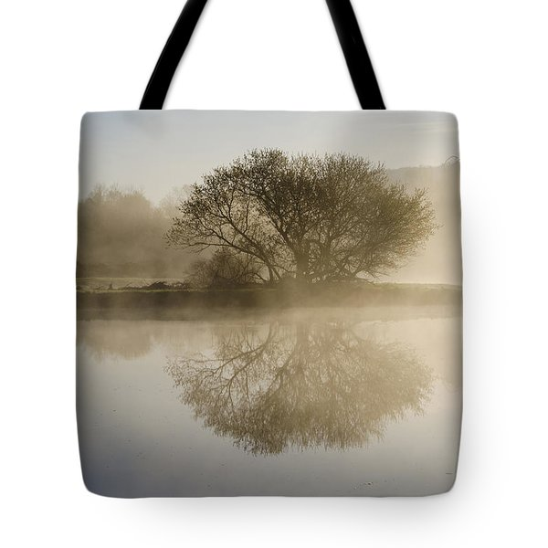 Beautiful Misty River Sunrise Tote Bag by Christina Rollo