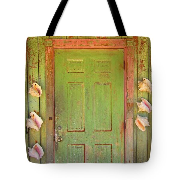 Beautiful Old Door With Seashells Tote Bag by John Malone