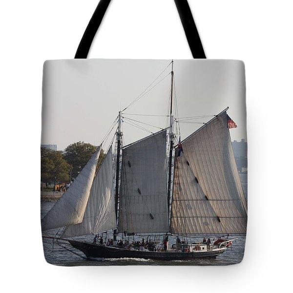 Beautiful Sailboat In Manhattan Harbor Tote Bag by John Telfer