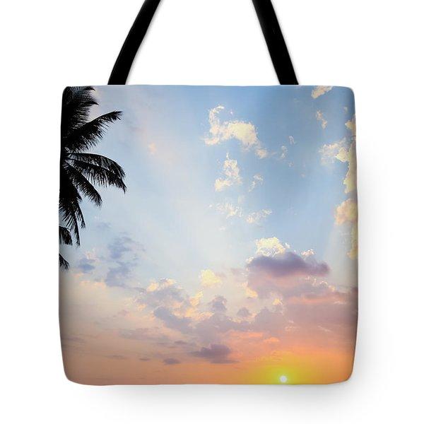 Beautiful Tropical Sunset Tote Bag by Nila Newsom