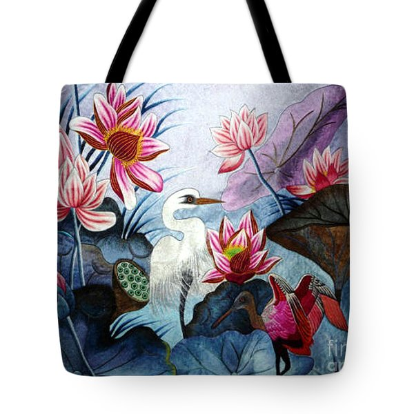 Beauty Of The Lake Hand Embroidery Tote Bag by To-Tam Gerwe