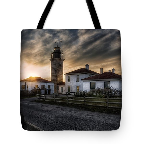 Beavertail Lighthouse Sunset Tote Bag by Joan Carroll