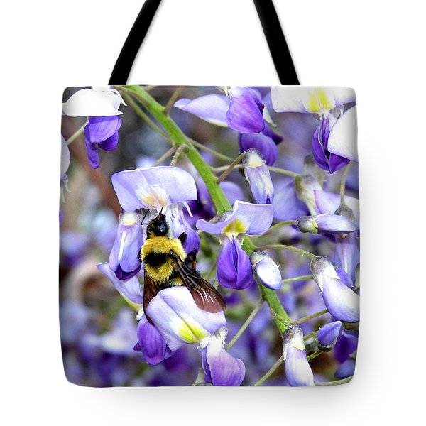 Bee In The Wisteria Tote Bag by Will Borden
