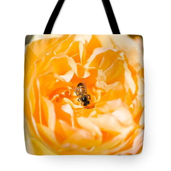 Bee Pollinating A Yellow Rose, Beverly Tote Bag by Panoramic Images