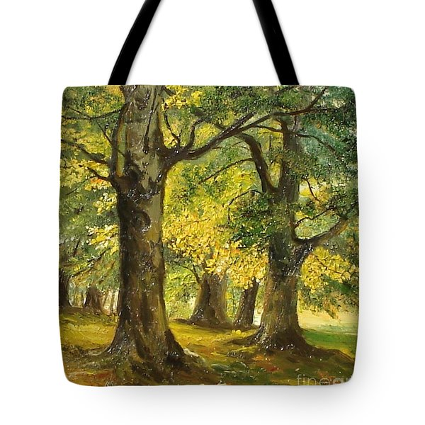 Beeches In The Park Tote Bag by Sorin Apostolescu