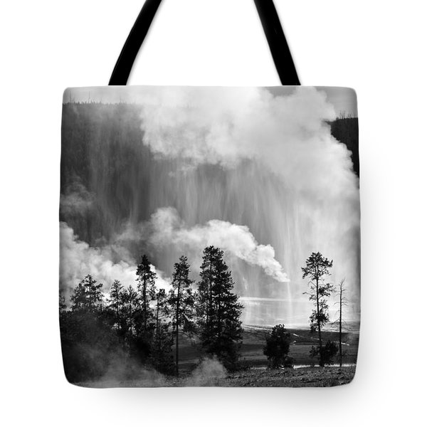 Beehive Geyser Shower In Black And White Tote Bag by Bruce Gourley