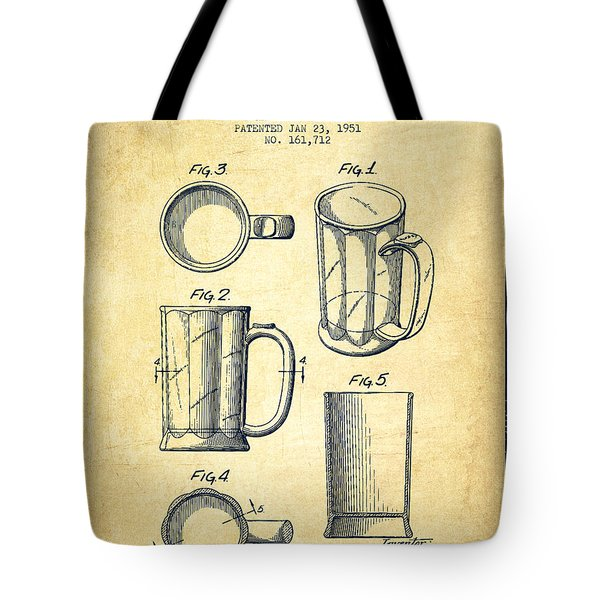 Beer Mug Patent Drawing From 1951 - Vintage Tote Bag by Aged Pixel