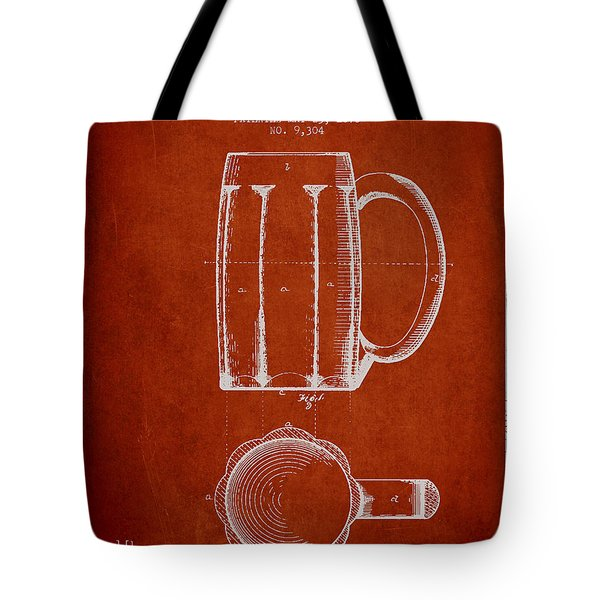 Beer Mug Patent From 1876 - Red Tote Bag by Aged Pixel