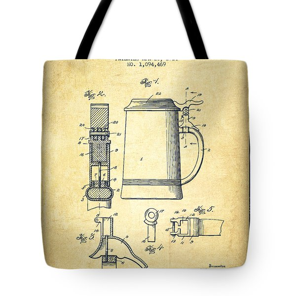 Beer Stein Patent From 1914 -vintage Tote Bag by Aged Pixel