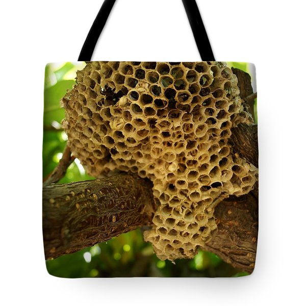 Bees In The Peach Tree Tote Bag by Kerri Mortenson