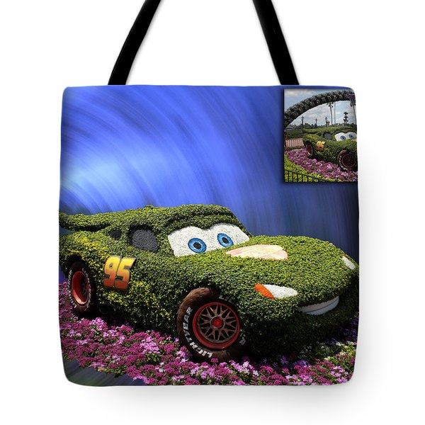Before And After Sample Art 29 Floral Lightning Mcqueen Tote Bag by Thomas Woolworth