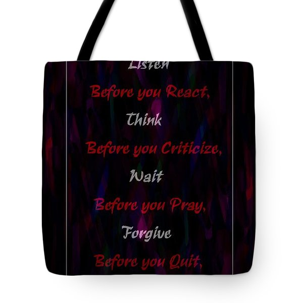 Before Doing Anything Tote Bag by Barbara Griffin