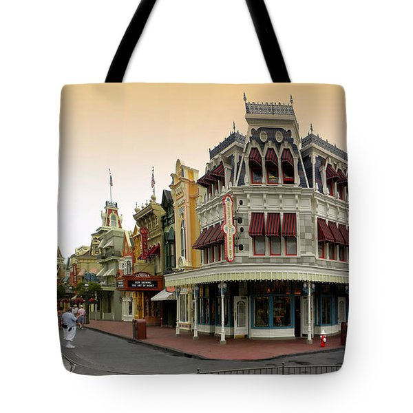 Before The Gates Open Early Morning Magic Kingdom With Castle. Tote Bag by Thomas Woolworth