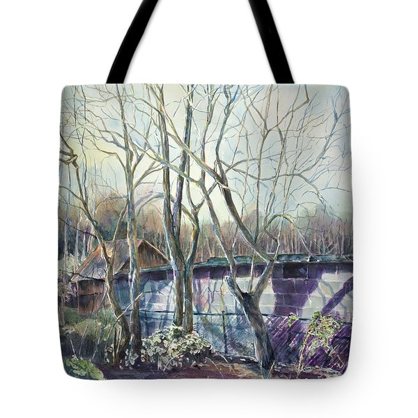 Behind The Shed Tote Bag by Janet Felts
