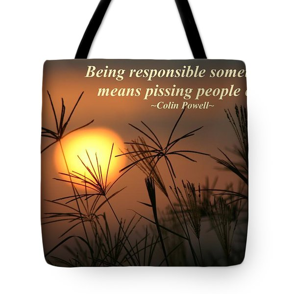 Being Responsible  Tote Bag by Pharaoh Martin