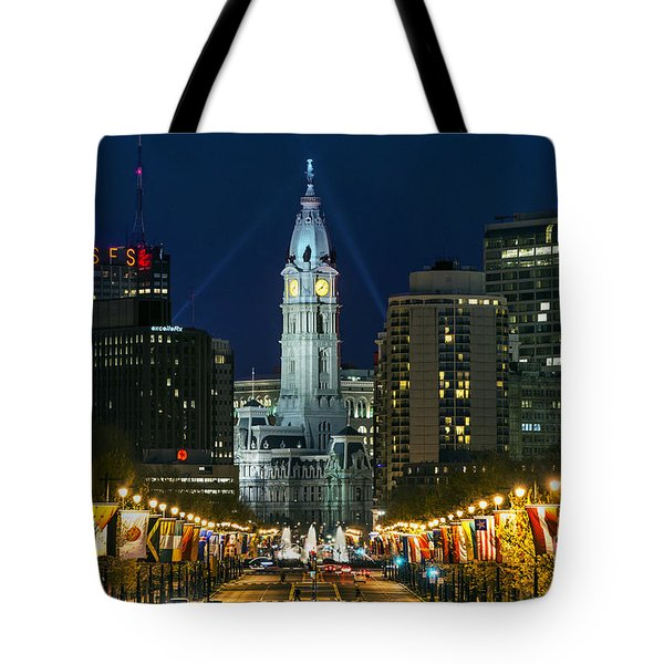 Ben Franklin Parkway And City Hall Tote Bag by John Greim