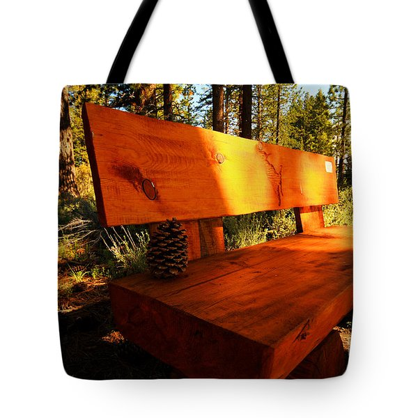 Bench In The Woods Tote Bag by Cheryl Young