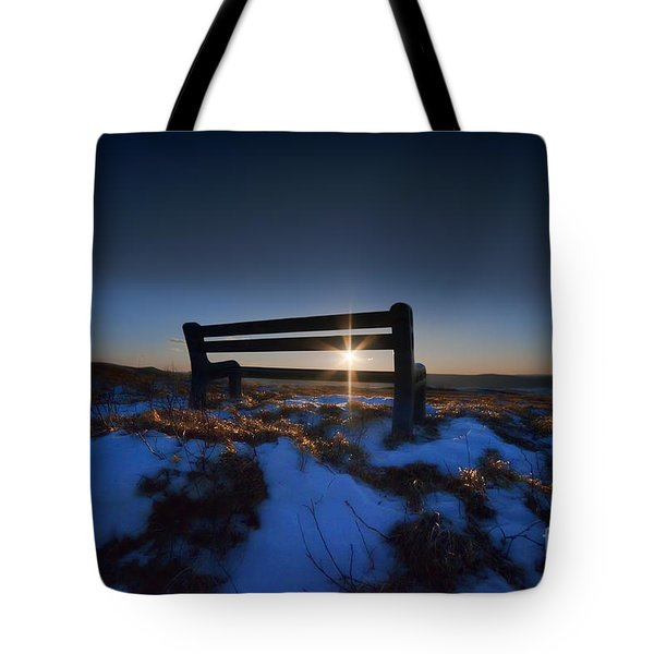 Bench On Top Of Mountain At Sunset Tote Bag by Dan Friend