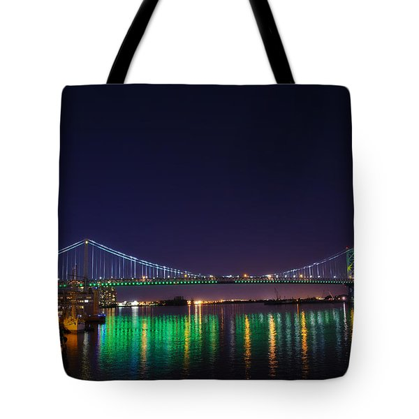 Benjamin Franklin Bridge at Night from Penn's Landing Tote Bag by Bill Cannon