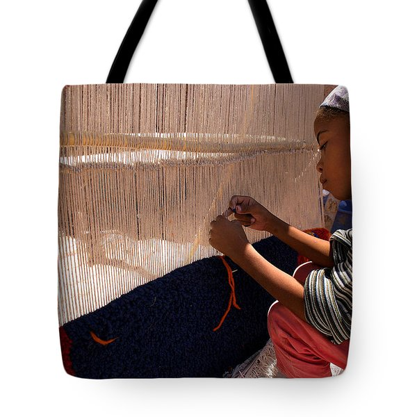 Berber Girl Working On Traditional Berber Rug Ait Benhaddou Southern Morocco Tote Bag by Ralph A  Ledergerber-Photography
