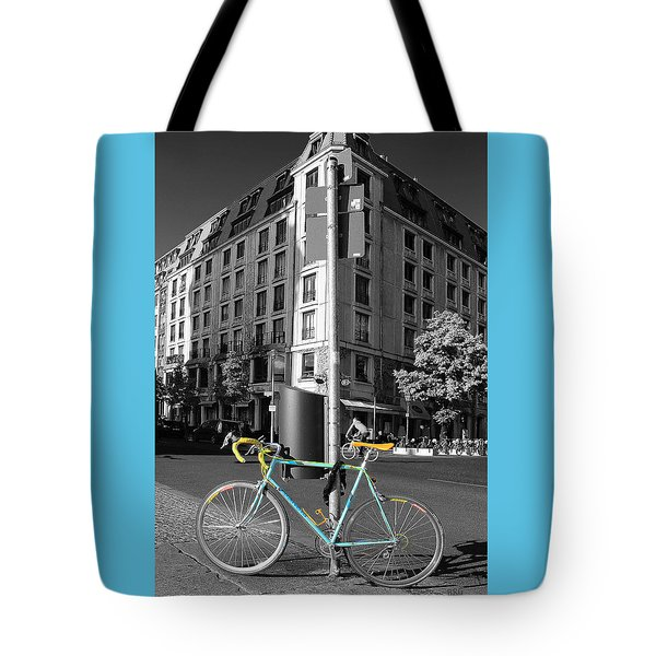 Berlin Street View With Bianchi Bike Tote Bag by Ben and Raisa Gertsberg