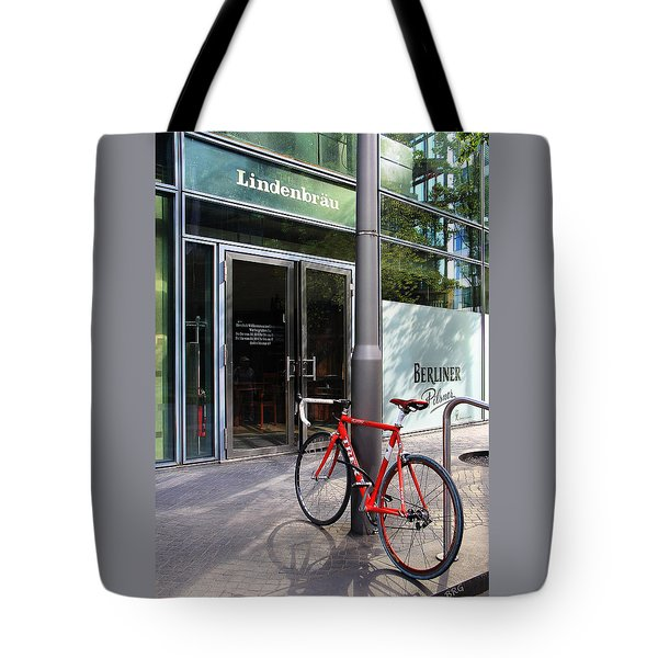 Berlin Street View With Red Bike Tote Bag by Ben and Raisa Gertsberg