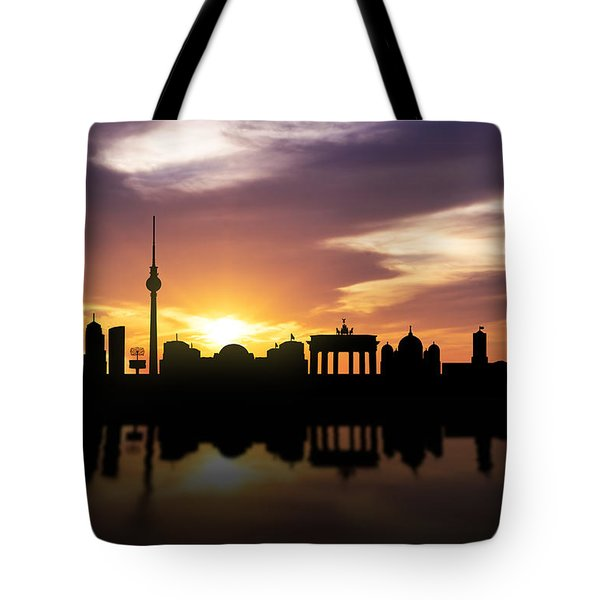 Berlin Sunset Skyline  Tote Bag by Aged Pixel