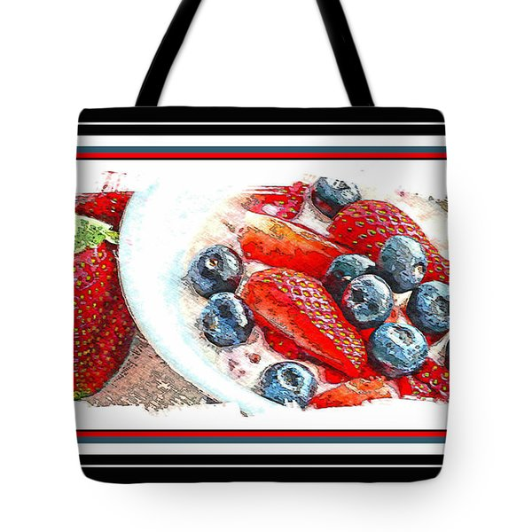 Berries And Yogurt Illustration - Food - Kitchen Tote Bag by Barbara Griffin