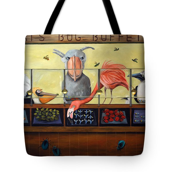 Bert's Bug Buffet Tote Bag by Leah Saulnier The Painting Maniac