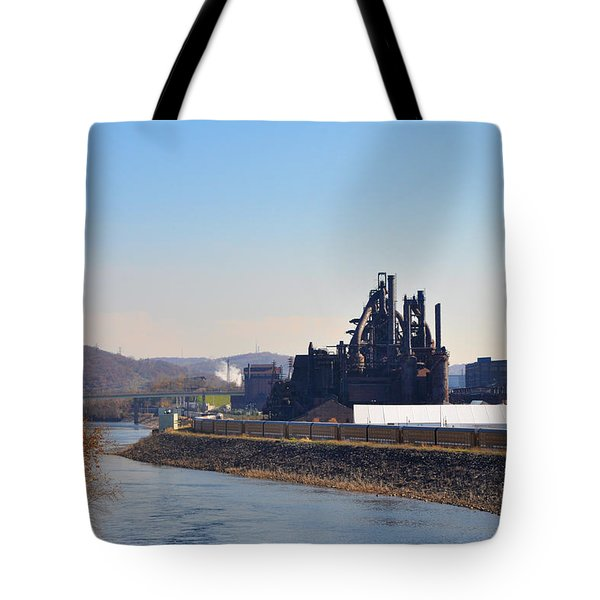 Bethlehem Steel and the Lehigh River Tote Bag by Bill Cannon