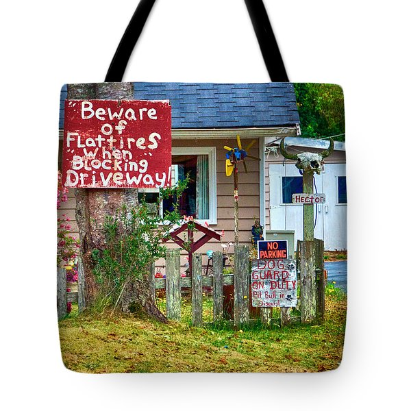 Beware Of Flat Tires Tote Bag by Trever Miller