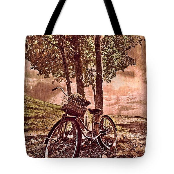 Bicycle In The Park Tote Bag by Debra and Dave Vanderlaan