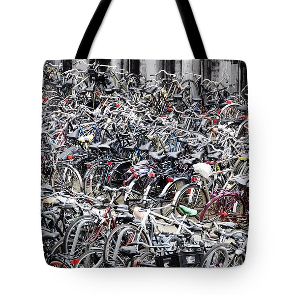 Bicycle Parking Lot Tote Bag by Oscar Gutierrez