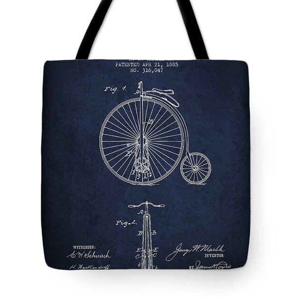 Bicycle Patent Drawing From 1885 - Navy Blue Tote Bag by Aged Pixel