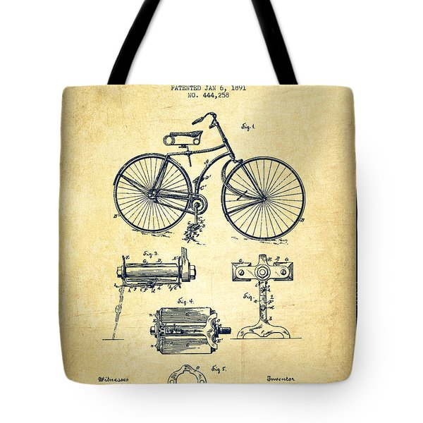 Bicycle Patent Drawing From 1891 - Vintage Tote Bag by Aged Pixel