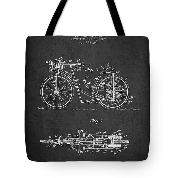 Bicycle Patent Drawing From 1896 - Dark Tote Bag by Aged Pixel