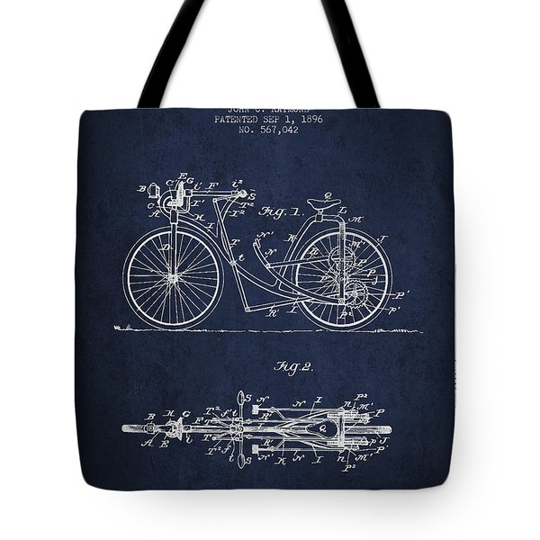 Bicycle Patent Drawing From 1896 - Navy Blue Tote Bag by Aged Pixel