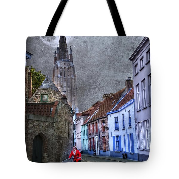 Bicycling Through Bruges Tote Bag by Juli Scalzi