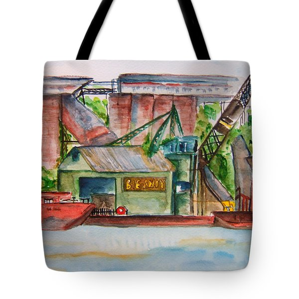 Big Andy Terminal On Ohio River Tote Bag by Elaine Duras