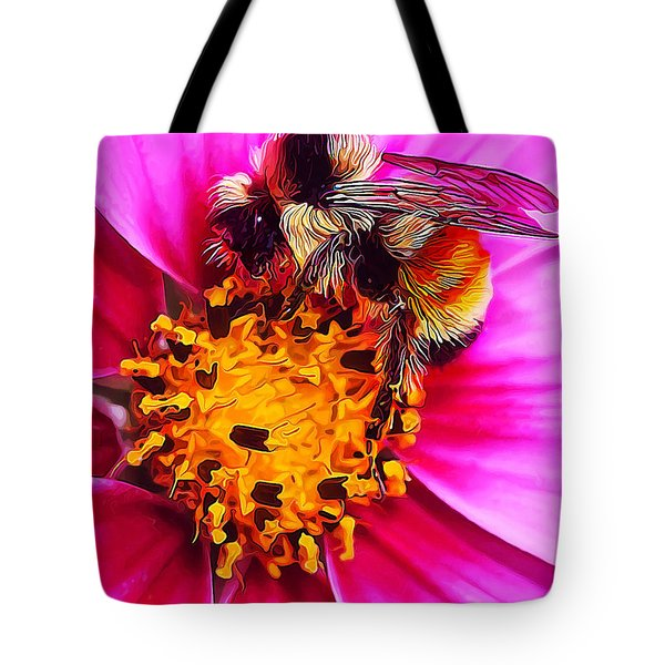 Big Bumble On Pink Tote Bag by Bill Caldwell -        ABeautifulSky Photography