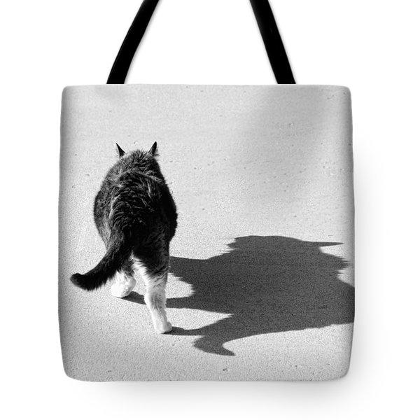 Big Cat Ferocious Shadow Monochrome Tote Bag by James BO  Insogna