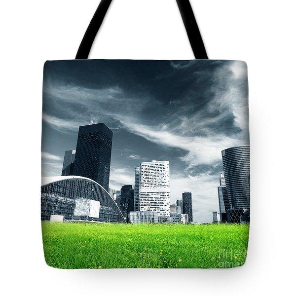 Big City And Green Fresh Meadow Tote Bag by Michal Bednarek